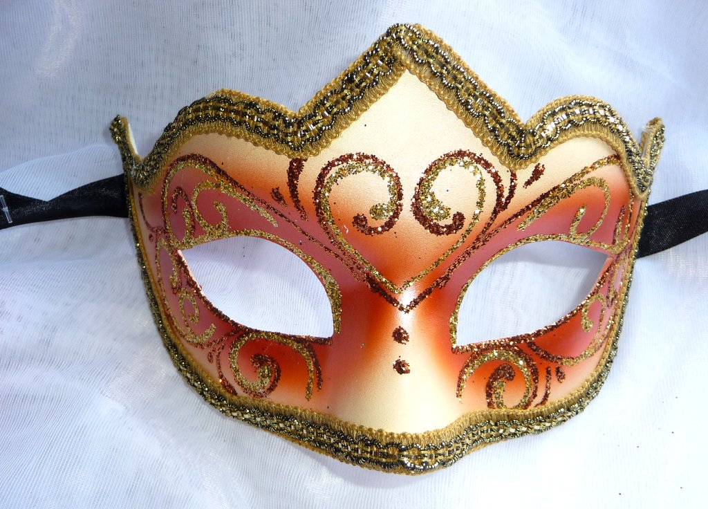Genuine Venetian peach glitter half Mask 1