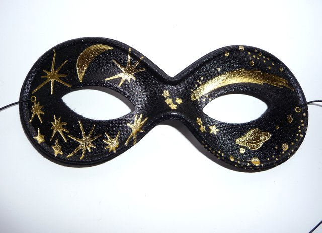 Black & Gold Moon and Star Mask