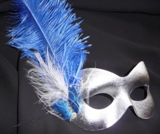 Blue & Silver  butterfly Burlesque style feather mask