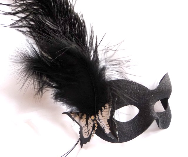 Burlesque style black sparkle butterfly mask
