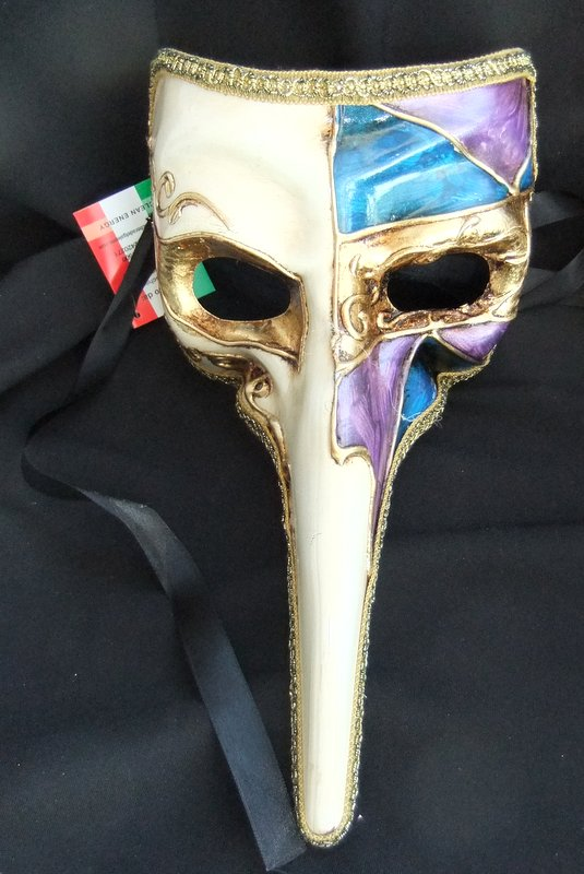 Genuine Venetian Purple, Blue & Black long nose Mask a