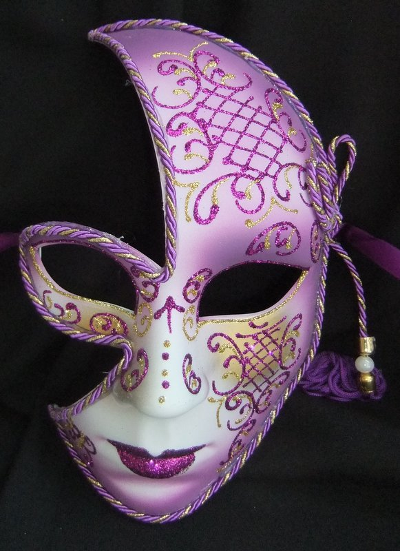 ladies face purple half mask