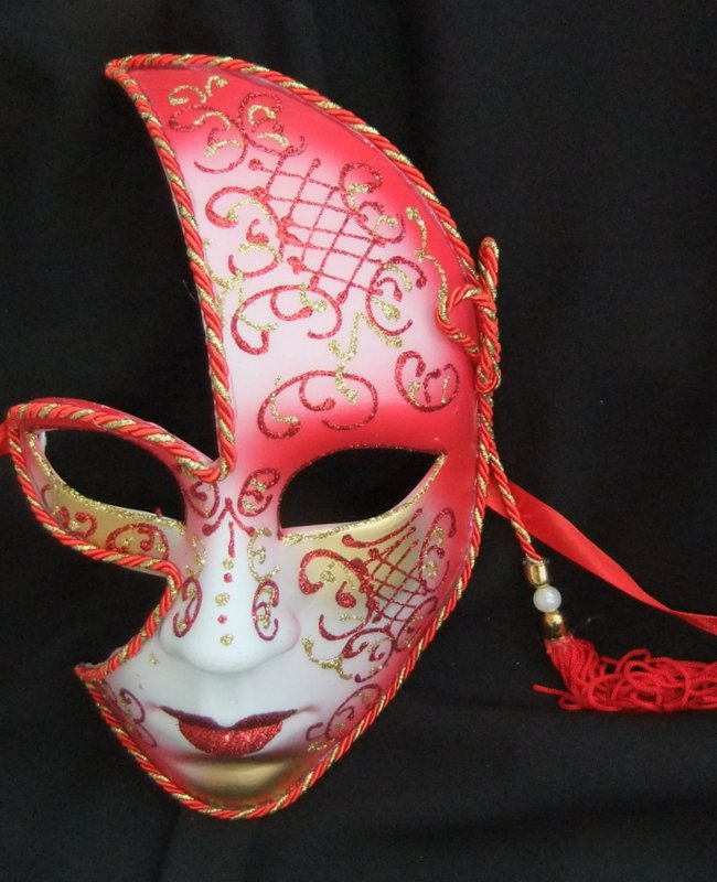 Ladies Face Red Half Mask