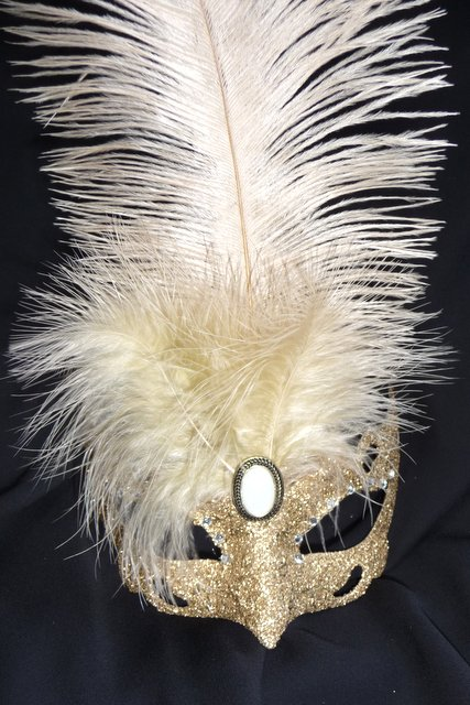Venetian Gold feathered glittered  Mask